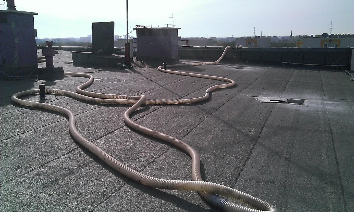 Hose for transport of material and installation hole